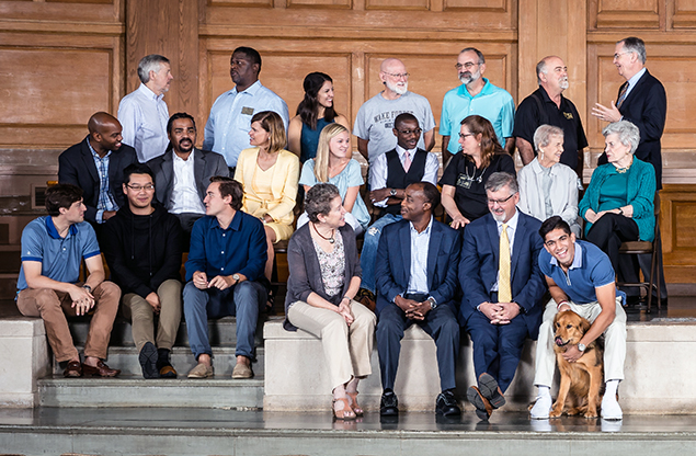 Group shot of notable WFU alums in Wait Chapel
