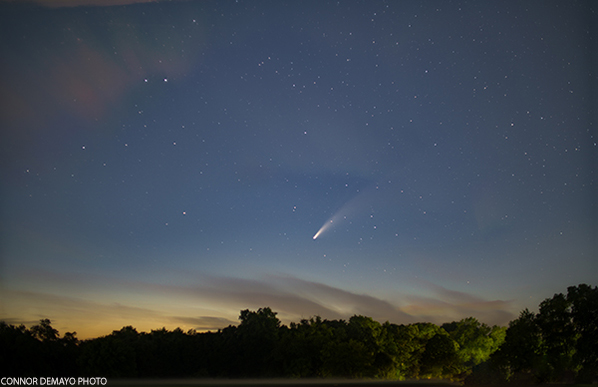 Comet Neowise just after sunset on July 13 in New Canaan, CT.