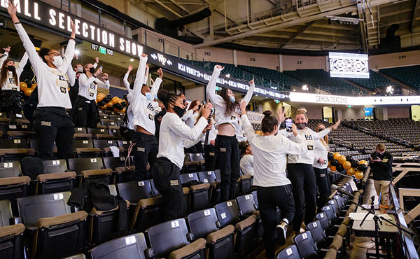 The WFU women's basketball team reacts as they are selected to the 2021 NCAA Tournament